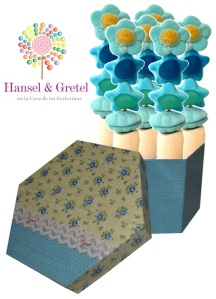 Caja Azul Flores Grande